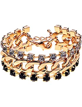 lureme Gold-Ton Kristalle förmigen Kralle Kette Armband 06000811-1