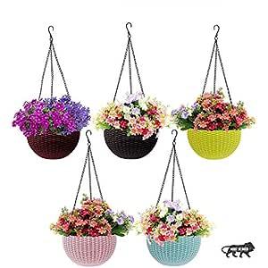 PET Plastic Hanging Flower Pot, Multicolour, 3 Pcs