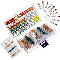 BOJACK 630 Pieza 17 Valores Kit de resistencia 0 Ohm-1M Ohm con 1% 1 / 4W Surtido de resistores de película de metal y producto gratis 1 Pieza Termistor y 1 Pieza Fotoresistor y 10 Pieza LED
