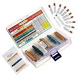 BOJACK 630 pièces 17 valeurs Kit de résistance 0 Ohm-1M Ohm avec ±1% 1/4 W Film métallique Résistances Assortiment