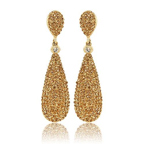 Moonstruck Champagne Diamond Golden Drop Earrings For Women