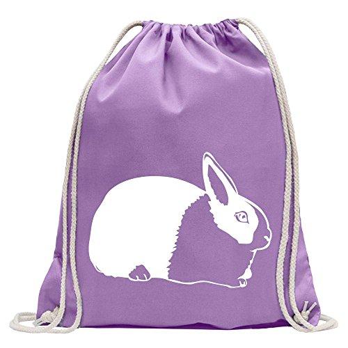 KIWISTAR - Hasen Piktogramm - Häschen - Kaninchen Turnbeutel Fun Rucksack Sport Beutel Gymsack Baumwolle mit - Kaninchen Lavendel