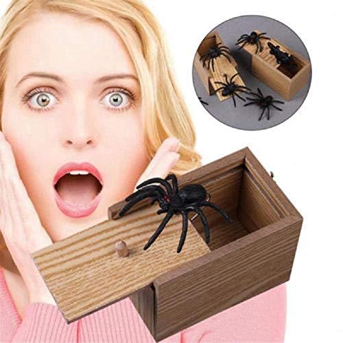 DOXMAL Holz Streich Spinne Angst Box Witz lebensechte lustige Überraschung Gag Spielzeug beängstigend Kind Spinne Maus Streich Spielzeug für Party (Beängstigend Maus)