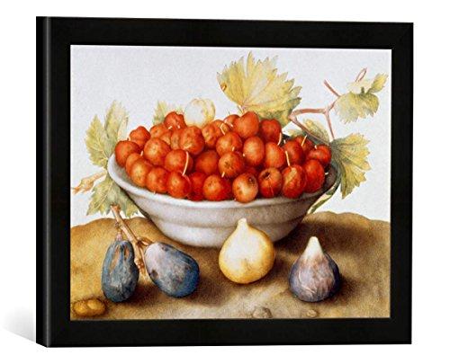 Gerahmtes Bild von Giovanna Garzoni Schale mit Kirschen und Feigen, Kunstdruck im hochwertigen handgefertigten Bilder-Rahmen, 40x30 cm, Schwarz matt - Garzoni Schale