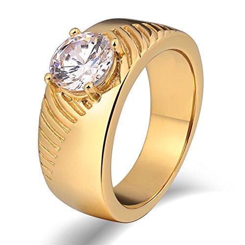 LOUMVE Titan Ring Gravur Unregelmäßiger Schliff Weiß Zirkonia Runde Gold Ehering Herren Größe 65 (20.7) (Alexandrit Silberring)