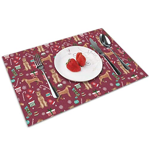 Tischsets Set of 4 - Irish Terrier Christmas Candy Canes Christmas Stockings Snowflakes Tischsets 100% Polyester Woven Tischsets Washable Decorative Heat Insulation Kitchen Table Mats