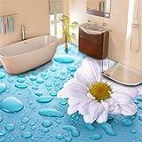 LANYU Benutzerdefinierte Boden Tapete 3D Stereo Drop Flower Vinyl Bodenfliesen Wasserdichte Tapete Badezimmer 3D Boden Wandaufkleber, 400 * 280 cm