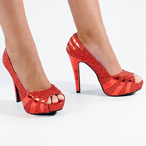 Calcanhar Prata Sapatos Vermelho Bombas Senhoras Toe Partido H13 Stiletto De Cintilante Shuwish Brilho Alta Aberto qwwax8Cn4