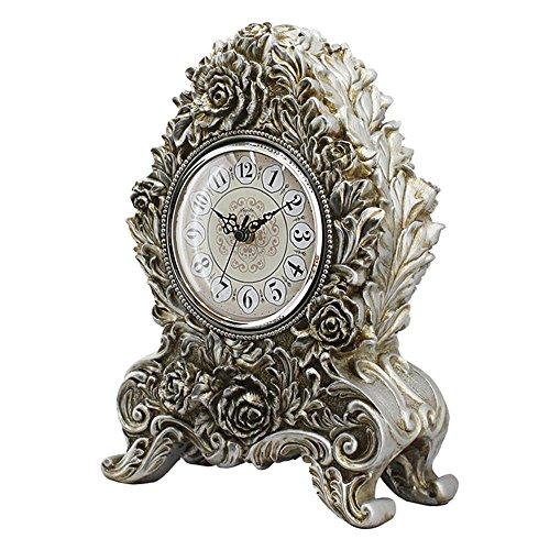 HENSE Retro Vintage European Style Decorative Grandfather Clock Polyresin  Modern Mantel Shelf Tabletop Desk Quartz Clocks HD18