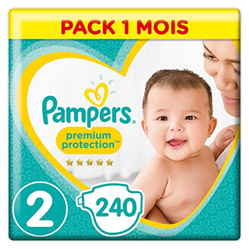 Pampers Premium Protection - Pañales talla 2 (4-8/3-6 kg) - Paquete de 1 mes (x240 pañales)
