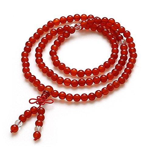 Braccialetto agata nera e cristallo naturale/108 Braccialetti di perline di Buddha/ gioielli amanti/ versione coreana di bracciale multistrato-E