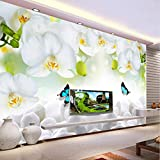 murale Carta da parati muralee su ordinazione 3D Carta da parati moderna del rivestimento della parete del sofà della TV della carta da parati modellata bianca moderna dell'orchidea-350X245cm