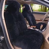 2er Lammfellbezug Auto Sitzbezug 100% echt Lammfell Vordersitzbezug Universal Schwarz