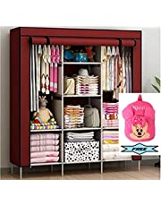 FASNO 6+2 Layer Fancy and Portable Foldable Collapsible Closet/Cabinet (Need to Be Assembled) (88130) (Wine Red) with Free Minnie Bag for Your Kids