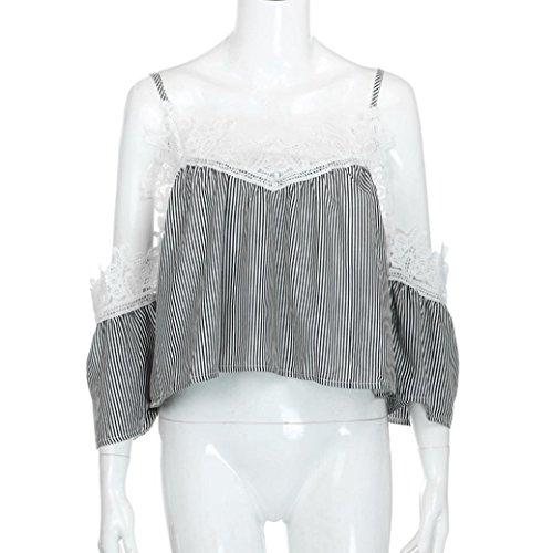 LONUPAZZ Striped T Shirt à Manches Courtes Femmes Dentelle Off Shoulder Tops Noir