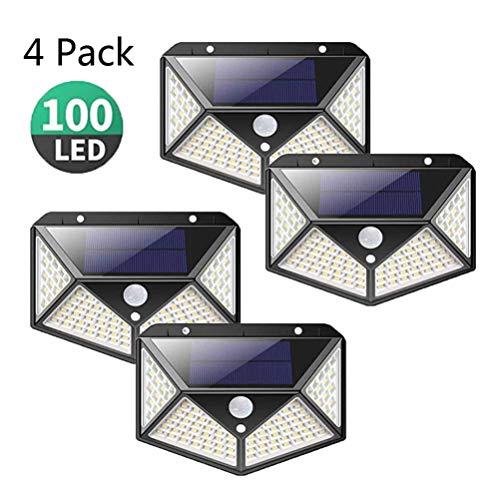 Solarleuchte für Außen 100 LED, 3 Modi Auccy Solarlampe Garten mit Bewegungsmelder Wandleuchte 2200mAh Außenleuchte Wasserdichte Solarleuchten Garten, 4 Stück