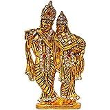ART N HUB Brass 24 K Gold Plated Hindu Goddess Lord Radha Krishna Car Dashboard Love Couple Statue Handicraft Idol with Stones