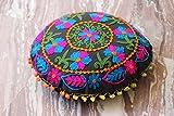 HANDICRAFTOFPINKCITY indischen Suzani Kissenbezug Runde Form 40,6cm Kissen Decor