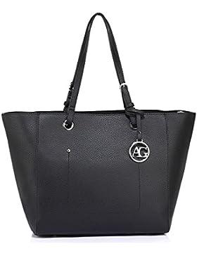 Anna Grace Damen Tasche Handtasche mit Tragegriff Schultertasche Groß mit Reißverschluss