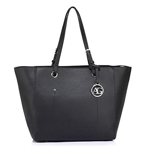 Anna Grace Damen Tasche Handtasche mit Tragegriff Schultertasche Groß mit Reißverschluss (Schwarz) (Tasche Anna)