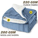 Best Cotton Craft Picnic Blankets - Sherpa Throw Blanket Washed Blue Double/Twin Size Review
