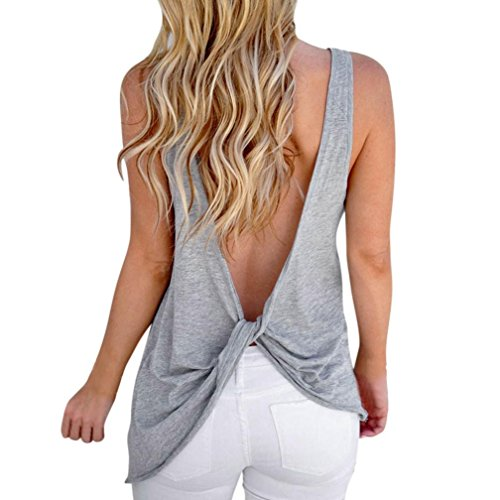 Saihui Women Tank Tops, Casual Twist Backless Sexy Sleeveless Blouse- Gym Clothes Yoga Fitness Great for Sport/Party/Daily/Beach