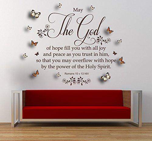 Romans 15 v 13, NIV christliche Bibel zitieren, Vinyl Wandkunst Aufkleber, Wandbild, Aufkleber mit grau/orange 3D Schmetterlinge. Haus, Kirche, Schule Dekor, Wanddekor