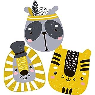 greenluup Öko Wandsticker Wandaufkleber Wandtattoo Tierköpfe Indianer Kinderzimmer Babyzimmer Kinder Baby Mädchen Junge Tapetensticker(3 Köpfe Gelb Schwarz)