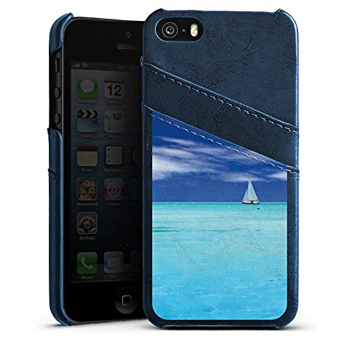 Apple iPhone 5s Housse Étui Protection Coque Caraïbes Mer Bateau à voile Étui en cuir bleu marine