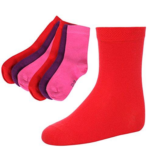 Kinder Socken,6 Pack,39/42,Rot/Lila/Rosa