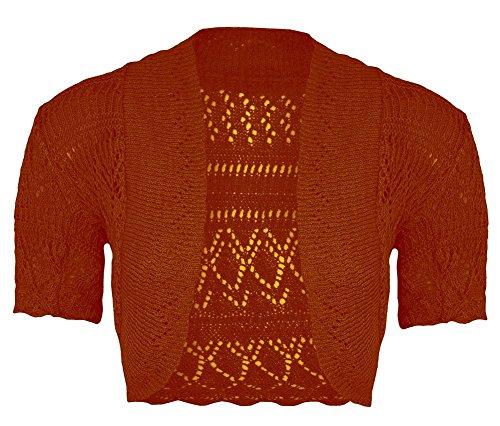Janisramone donne Scrollata di spalle bolero lavorato a maglia crochet cardigan In alto dimensioni 8-24 Rust