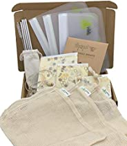 ZERO WASTE KIT - 17 PCS Eco Friendly Gift Set with Zero Waste Sustainable Products for the Home & Kitchen.