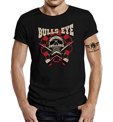 LOBO NEGRO® Original Design, T-Shirt für Den Dart Fan: Bulls-Eye Skull Schwarz Schwarz