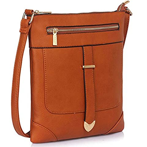 Cross Body Bag (Brown) Ladies Designer Handbags Stylish Faux Leather Womens Bags Buckle Detail Crossbody Bags Brown Handbag
