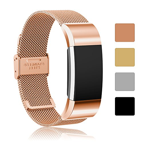 Fitbit Charge 2 Ersatz-Armband Zubehör, iFeeker Milanese Loop Edelstahl verstellbare Smart Watch Armband Band für Fitbit Charge 2 Herzfrequenz und Fitness-Armband mit Metall Edelstahl Connector