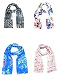 Sri Belha Fashions Printed Cotton Set of 4 mullticoloured stoles; scarf and stoles for women (Multi-19)