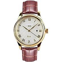 Herren Handgelenk Uhren braun mit geniue Leder, Mode Gold Analog Quarz Armbanduhr mit Kalender Datum Fenster, wasserdicht Classic Casual Business großes Gesicht Herren-Armbanduhr für Herren von rsvom