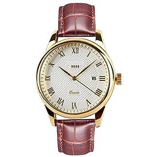 RSVOM-Armbanduhr-fr-Herren-braunes-Echtleder-Armband-schnes-goldfarbenes-Gehuse-analog-Quarzwerk-mit-Datumsanzeige-wasserdicht-klassischer-Stil-fr-die-Arbeit-groes-Zifferblatt