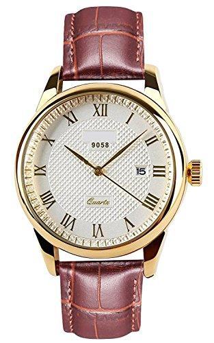 RSVOM Armbanduhr für Herren, braunes Echtleder-Armband, schönes goldfarbenes Gehäuse, analog, Quarzwerk, mit Datumsanzeige, wasserdicht, klassischer, Stil für die Arbeit, großes Zifferblatt