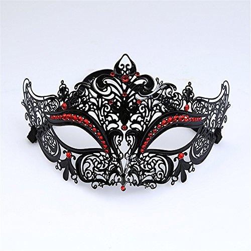 (ParttYMask Maskerade,Gold Metall Diamanten Make-up Abschlussball Silvesterparty Maske halb Gesicht für Männer und Frauen Venedig Metall Schmiedeeisen Maske 2 Masquerade)