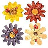 Unbekannt Funny Gerbera Jamesonii Sun Flower Colorful Kühlschrank Magnete Neuheit für Kinder, 4Stück