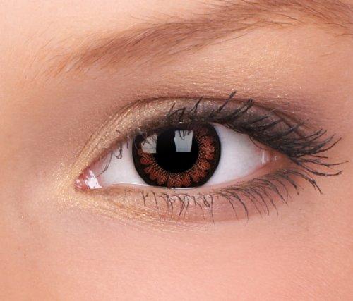 Meralens dunkelbraune farbige Kontaktlinsen Circle Lenses braune Pretty Hazel ohne Stärke + 60ml Kombilösung + Behälter 14mm Big Eyes