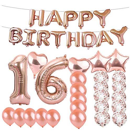 Stern 16 (Sungpunet 16 Zahl-Geburtstags-Party-Ballone Set Stern Luftballons Latex Dekoration BalloneConfetti Ballon mit Band für Partyangebot)