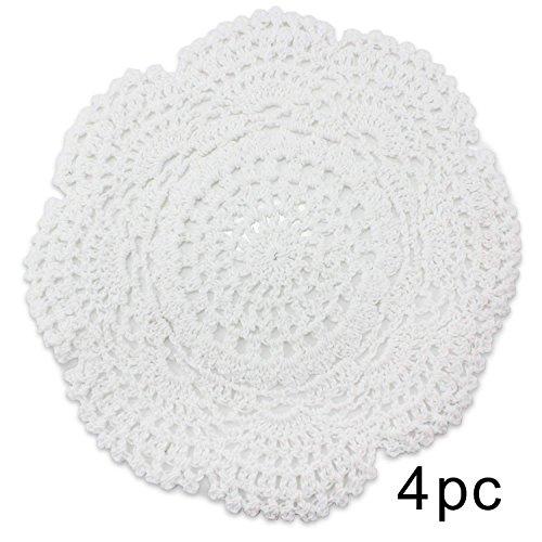 Psmgoods®, centrini fatti a mano in pizzo di cotone, tovagliette rotonde a forma di fiore, lavorazione all'uncinetto, cotone, burlap, 1o 20cm white
