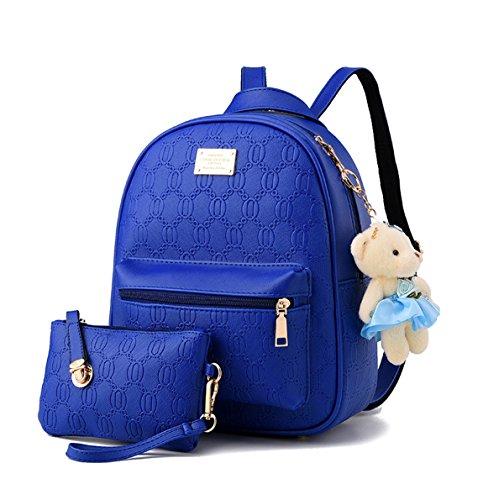 Keshi Pu Niedlich Schulrucksäcke/Rucksack Damen/Mädchen Vintage Schule Rucksäcke mit Moderner Streifen für Teens Jungen Studenten Tiefblau