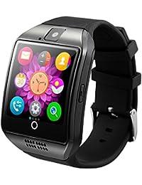 zolimx Bluetooth Smart Watch curvada superficie soporte SIM tarjeta para Smartphone cámara (negro)