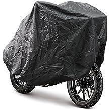 FEMOR Funda de Motocicleta Cubierta Impermeable para Motocicleta Anti UV Protección contra Lluvia y Polvo al Aire Libre con Bolsa (Color Negro Exterior, Plata Interior/240*105*125CM)