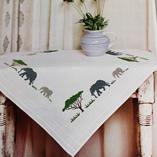 Kamaca Stickpackung Tischdecke Elefanten IN Afrika Kreuzstich vorgezeichnet aus Baumwolle Stickset mit Stickvorlage (Mitteldecke 80x80 cm)