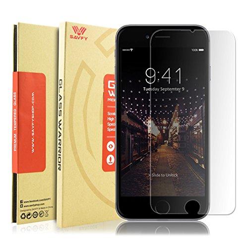 iPhone 6S / 6 Verre Trempé Film Protection écran - SAVFY Compatible fonction 3D Touch Glass Screen Protector Vitre Tempered Anti-Traces Reflets Doigts Inrayable 9H et Ultra Résistant Indice Dureté pour iPhone 6S / 6 (4.7 pouces)