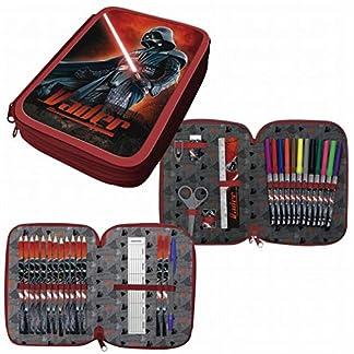 S&W Estuche PLUMIER Doble Star Wars Darth Vader 33 PZAS con Dos Pisos Y Dos Cremalleras